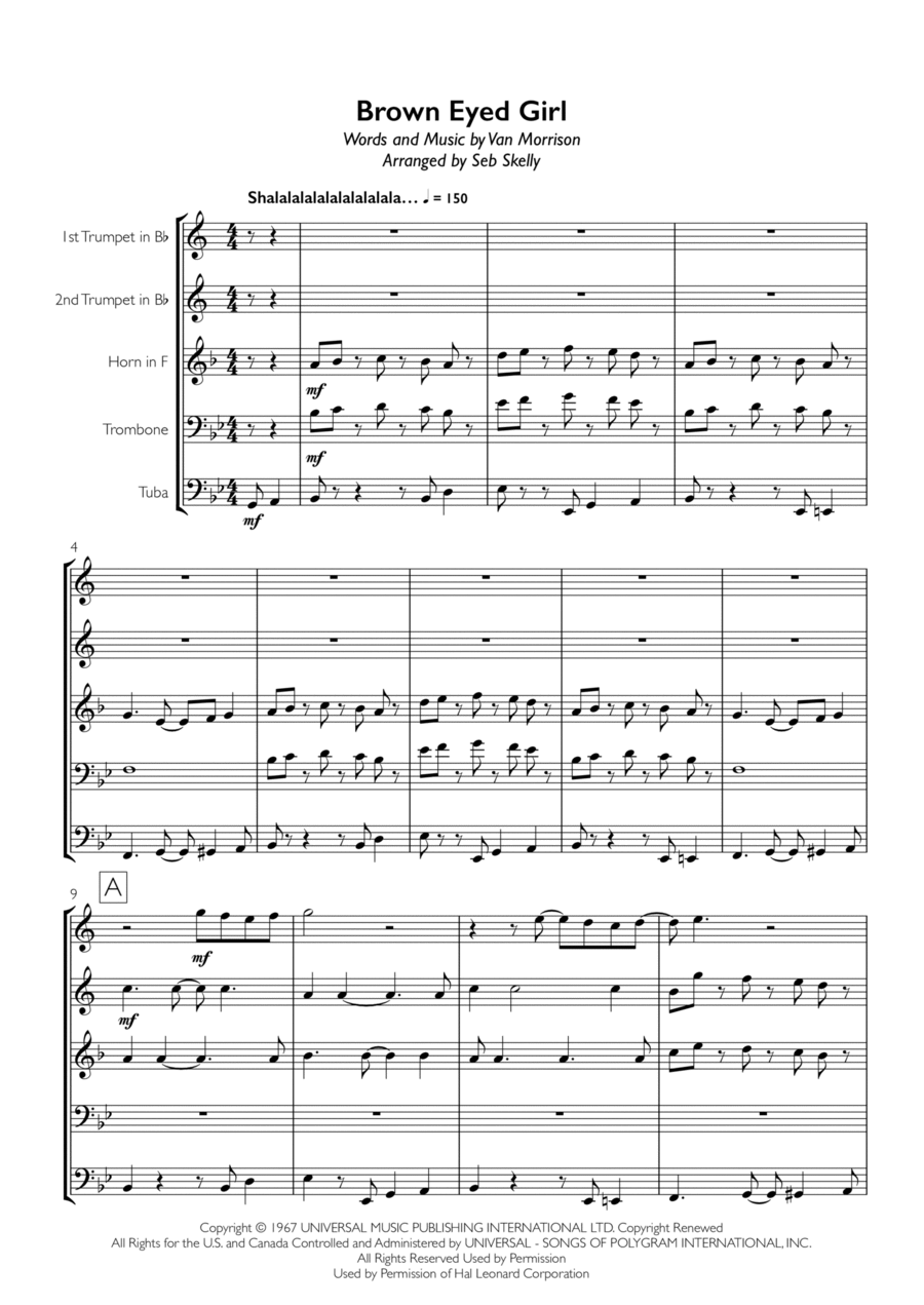 Van Morrison - Brown Eyed Girl for Brass Quintet