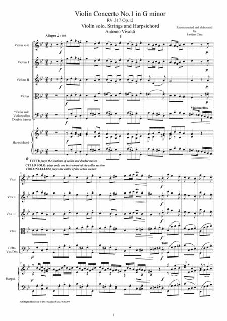 Vivaldi - Violin Concerto No.1 in G minor RV 317 Op.12 for Violin, Strings and Harpsichord