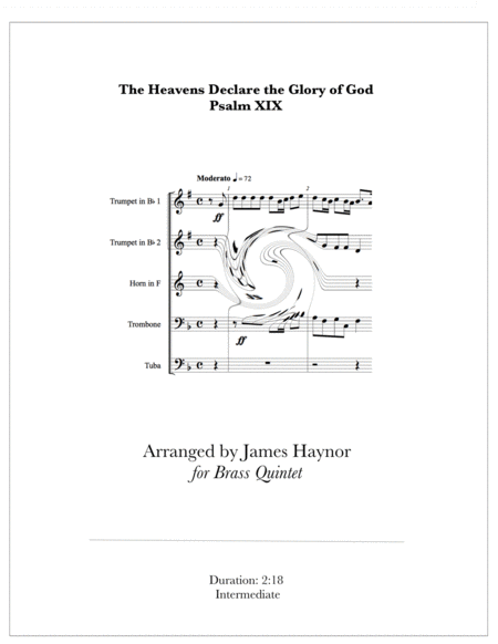 The Heavens Declare the Glory of God for Brass Quintet