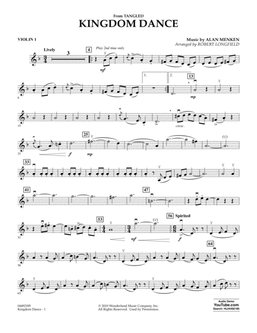 Kingdom Dance (from Tangled) - Violin 1