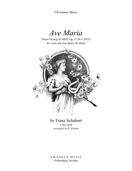 Ave Maria (Schubert) for voice and easy piano (Bb Major)