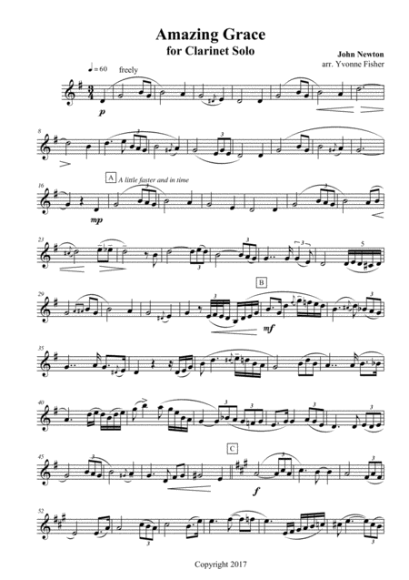 Amazing Grace for Clarinet Solo