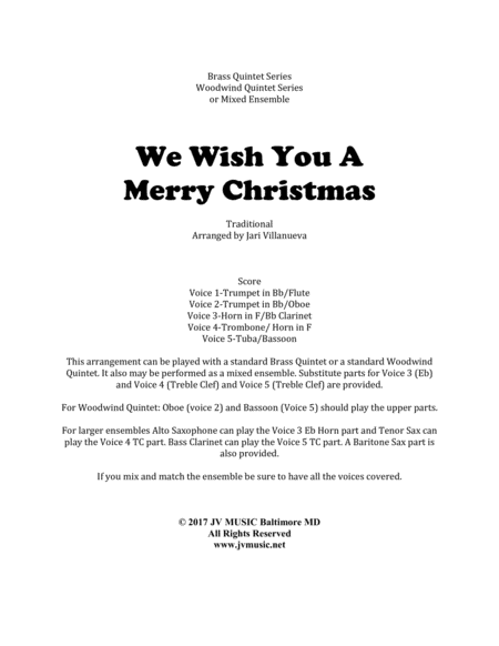 We Wish You A Merry Christmas for Brass or Woodwind Quintet or Mixed Ensemble