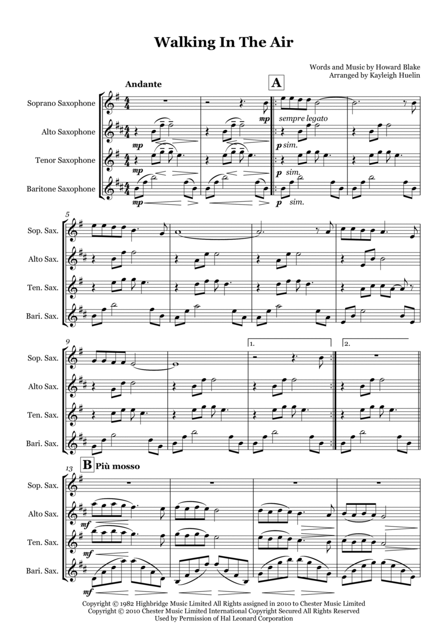 Walking In The Air from The Snowman - Saxophone quartet (SATB)