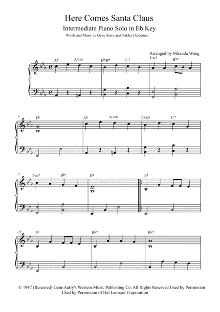 Here Comes Santa Claus (Right Down Santa Claus Lane) - Early Intermediate Piano Solo in Eb (With Chords)