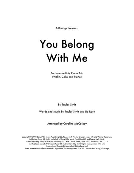 You Belong With Me - Piano Trio (Violin, Cello and Piano)