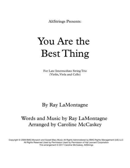 You Are The Best Thing - String Trio (Violin, Viola and Cello)