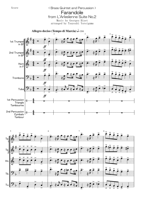 < Brass Quintet and Percussion > Farandole from L'Arleslenne Suite No.2