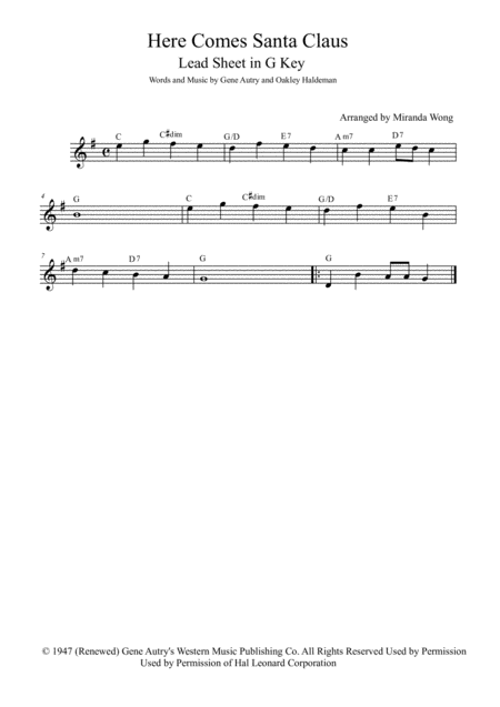 Here Comes Santa Claus (Right Down Santa Claus Lane) - Lead Sheet in G Key (With Chords)