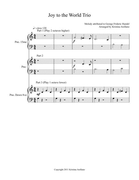 Joy to the World Elementary Piano Trio (1 piano, 6 hands)