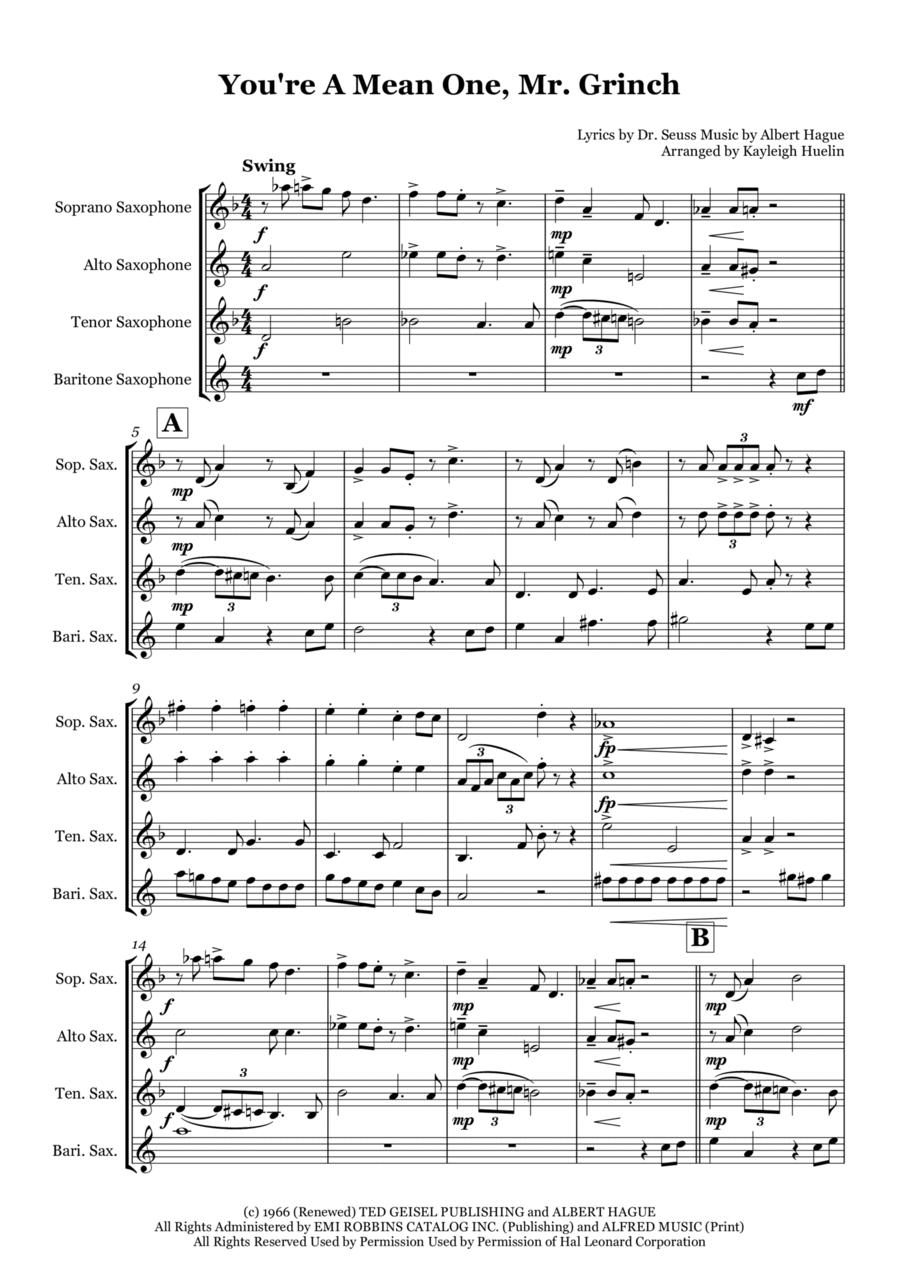 You're A Mean One, Mr. Grinch from The Grinch that Stole Christmas - Saxophone quartet (SATB)