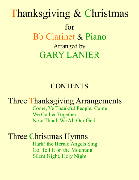 THANKSGIVING & CHRISTMAS (Bb Clarinet and Piano with Score & Parts)