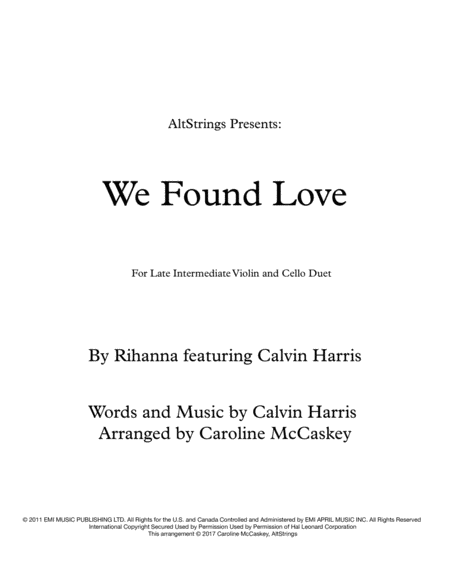 We Found Love - Violin and Cello Duet