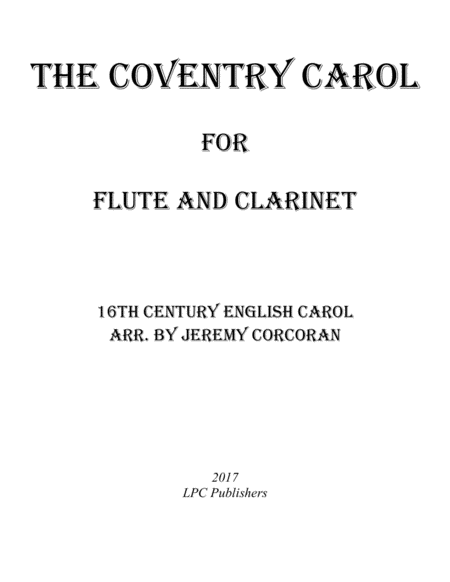 The Coventry Carol for Flute and Clarinet