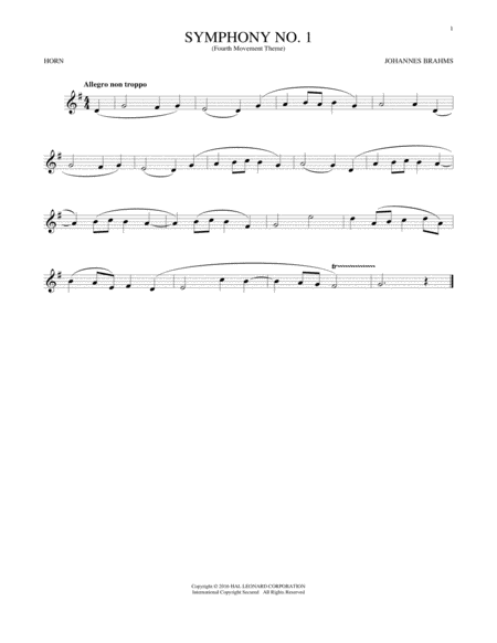 Symphony No. 1 In C Minor, Fourth Movement Excerpt