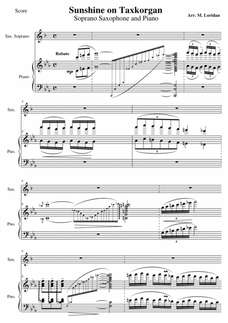 Sunshine on Taxkorgan - Sunshine on Tashkurgan, for saxophone and piano (Score + Solo part)
