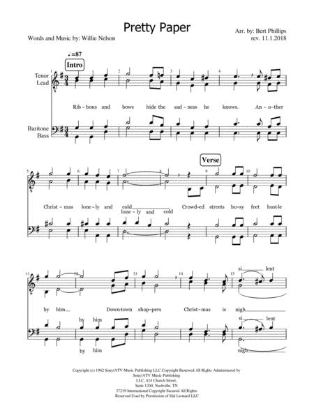 Pretty Paper Roy Orbison Sheet Music Paper Format