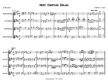 Merry Christmas, Darling - SAX QUARTET - sop, alto, tenor, bari