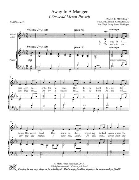 Away in a Manger for Unison elementary Choir.
