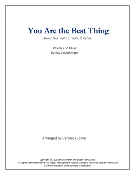 You Are The Best Thing for String Trio (Violin 1, Violin 2, Cello)