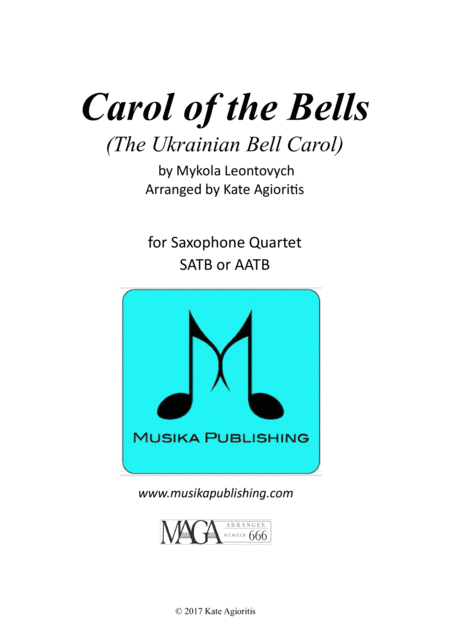 Carol of the Bells (Ukrainian Bell Carol) - for Saxophone Quartet