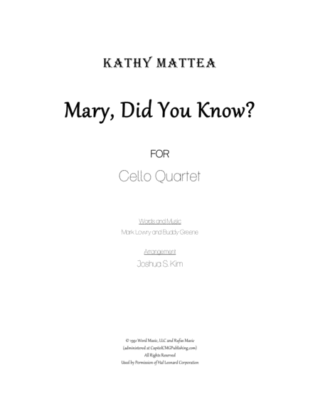 Mary, Did You Know? for 4 Cellos