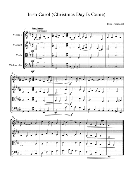 Irish Carol/Christmas day is come - easy string quartet