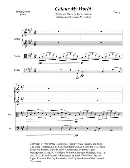Chicago: Colour My World for String Quartet