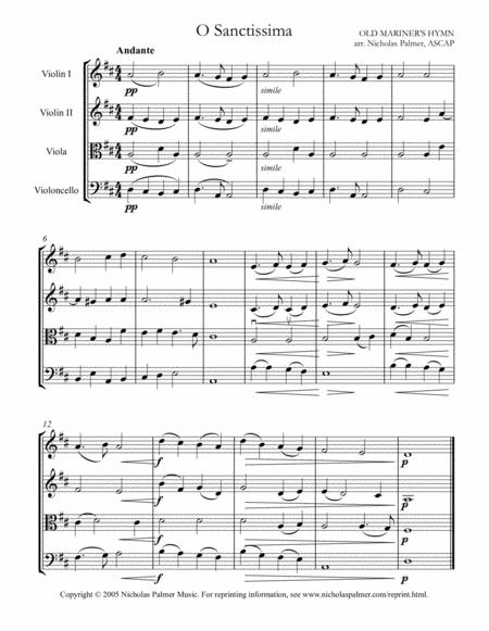 O Sanctissima / Mariner's hymn - easy string quartet