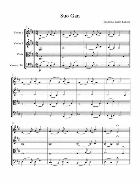Suo gan / Welsh lullaby - easy string quartet