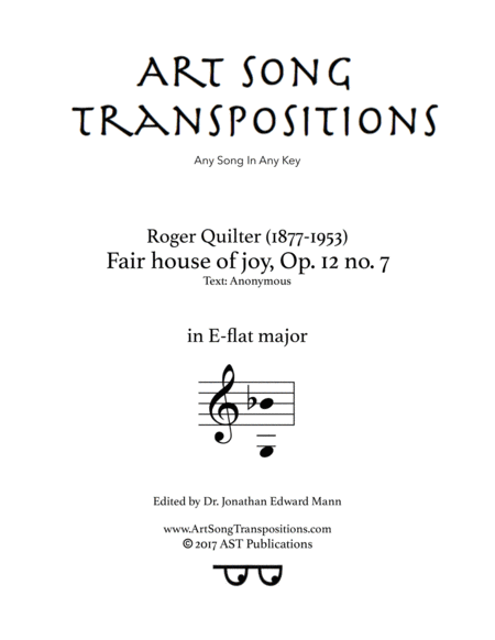 Fair house of joy, Op. 12 no. 7 (E-flat major)