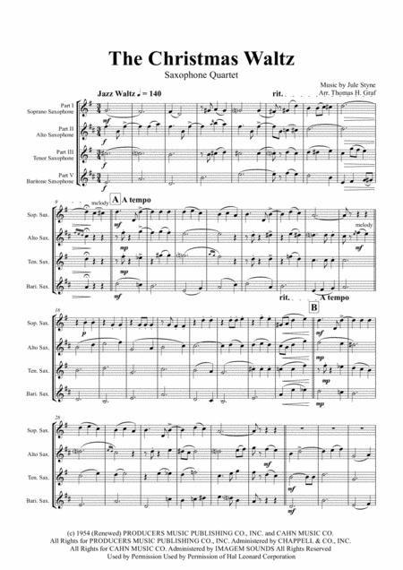 The Christmas Waltz - Frank Sinatra - Saxophone Quartet