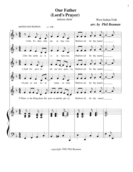 Our Father (Lord's Prayer) - unison choir