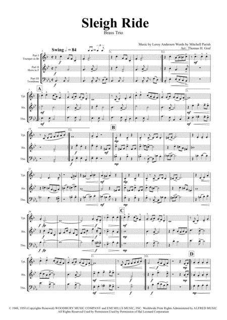 Sleigh Ride - Easy Swing - Brass Trio