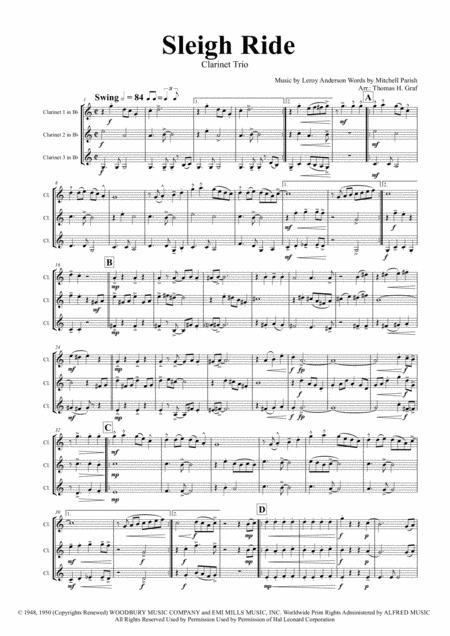 Sleigh Ride - Easy Swing - Clarinet Trio