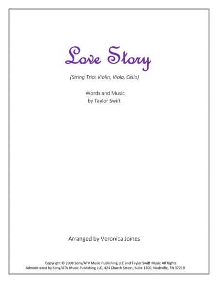 Love Story for String Trio (Violin, Viola, Cello)