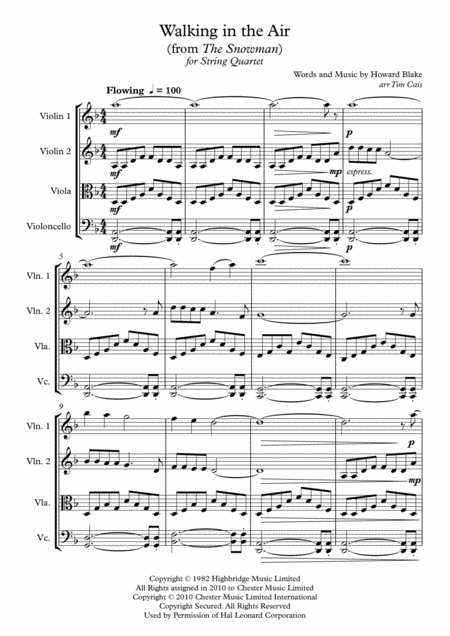 Walking In The Air - String Quartet