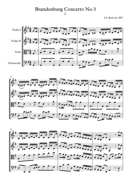 Bach Brandenburg 3 mvmt. 1