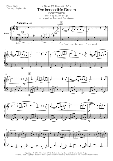 < Short EZ Piano #136 > The Impossible Dream from Man of La Mancha (Andy Williams)