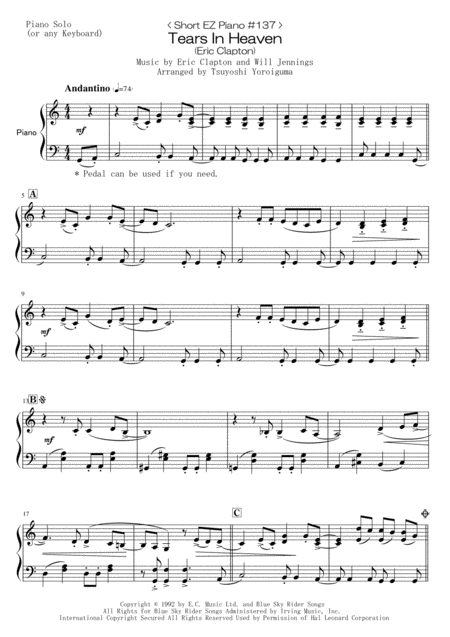 < Short EZ Piano #137 > Tears In Heaven (Eric Clapton)