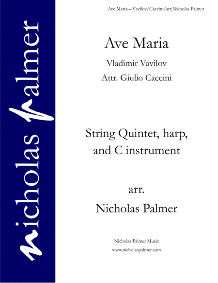 Ave Maria (attr. Caccini) - for strings, harp, and solo instrument or voice