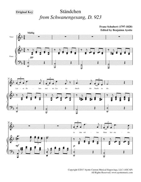 Schubert - Serenade (ständchen) from Schwanengesang for High Voice in D Minor