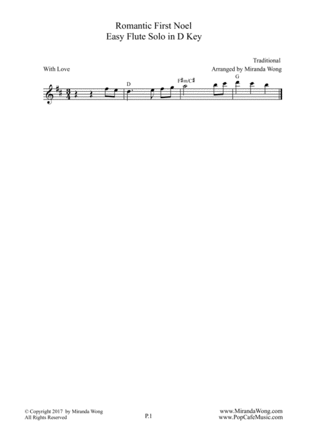 Romantic First Noel - Easy Piano Duet in D Key (With Chords)