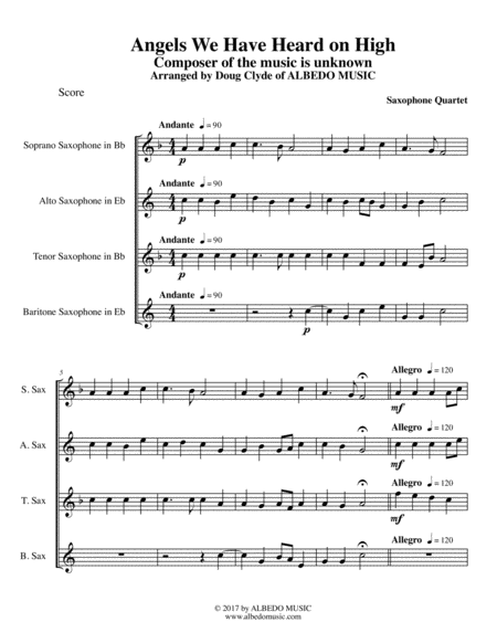 Angels We Have Heard on High for Saxophone Quartet