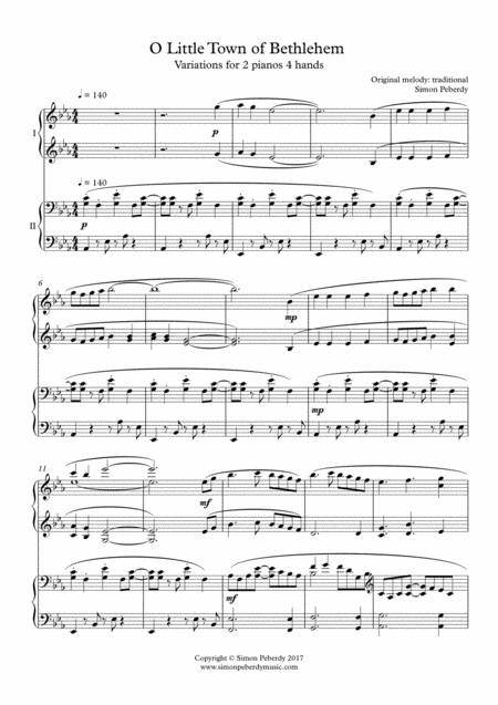 O Little Town of Bethlehem, fun Christmas Carol Variations for 2 pianos by Simon Peberdy