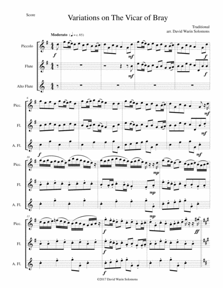 Variations on the Vicar of Bray for flute trio (piccolo, flute and alto flute)