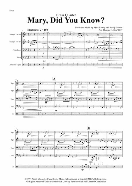 Mary, did you know? - Pentatonix Style - Brass Quartet