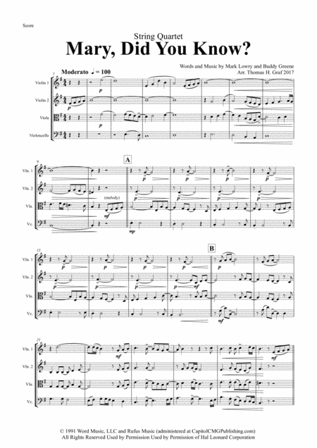 Mary, did you know? - Pentatonix Style - String Quartet