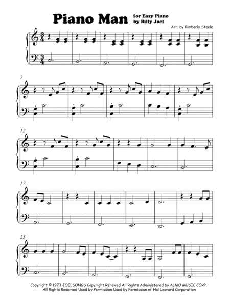 Piano Man by Billy Joel for Easy Piano/ Level 1 - 2
