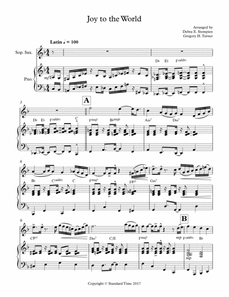 Joy to the World for Soprano Sax or Clarinet Solo with Piano Accompaniment (Latin)